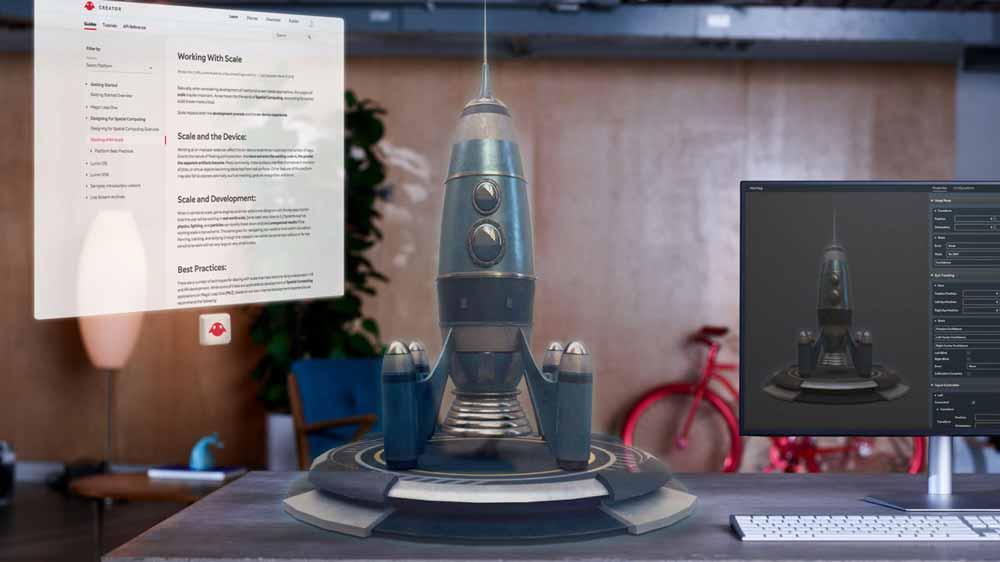 Die Magic-Leap-App Helios zeigt Web- und 3D-Inhalte ergänzend zum Computermonitor an. Bild: Magic Leap