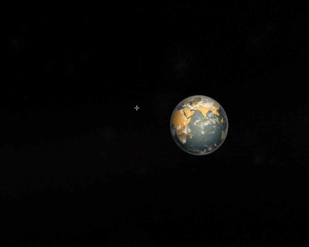Auf dem Rückweg tauchen in der Dunkelheit Erde und Mond auf.
