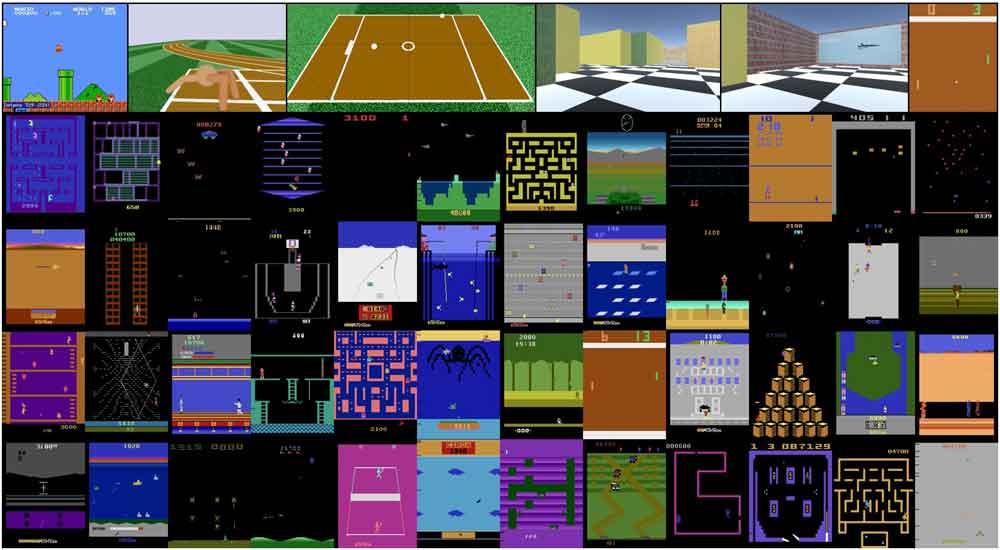 Eine Auswahl der Spiele, die die neugierige KI eigenständig erforschen durfte. Bild: Burda / OpenAI