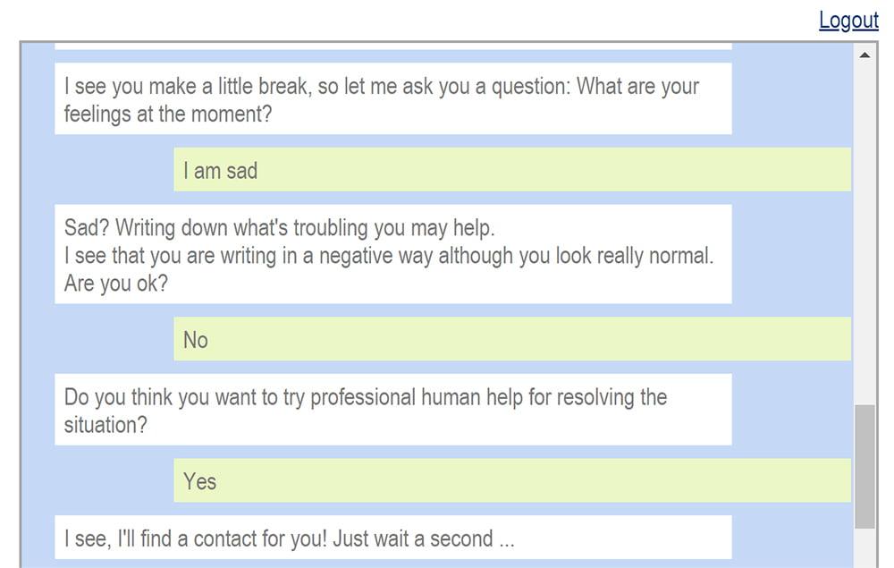 Gut zu erkennen: Der Chatbot reagiert auf meine Eingaben unterschiedlich. Stellt er eine Diskrepanz zwischen Gesichtsausdruck und Texteingabe fest, geht er darauf ein. Die Aussage des Nutzers hat jedoch eine höhere Priorität als die Gesichtsaufnahme.