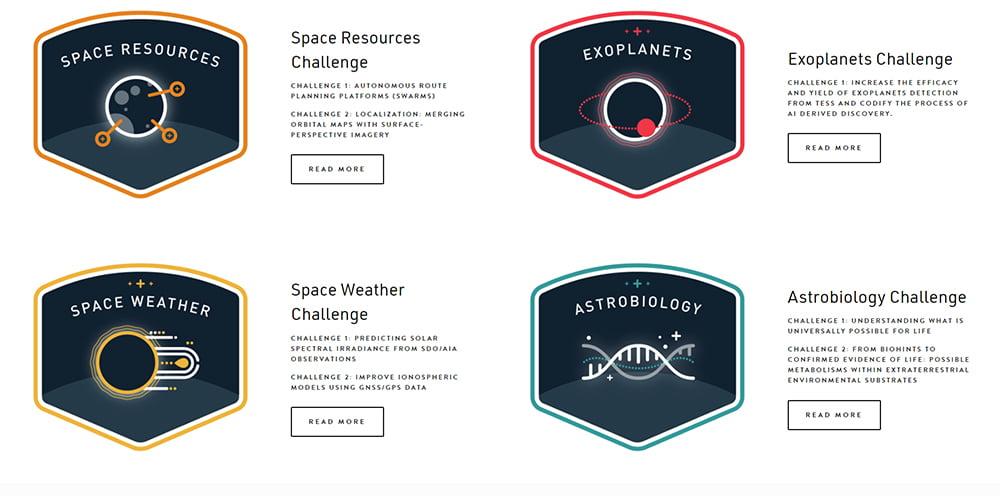 Die vier Themen der Veranstaltung im Überblick: Ressourcen, Exoplaneten, Weltall-Wetter und Astrobiologie. Bild: NASA