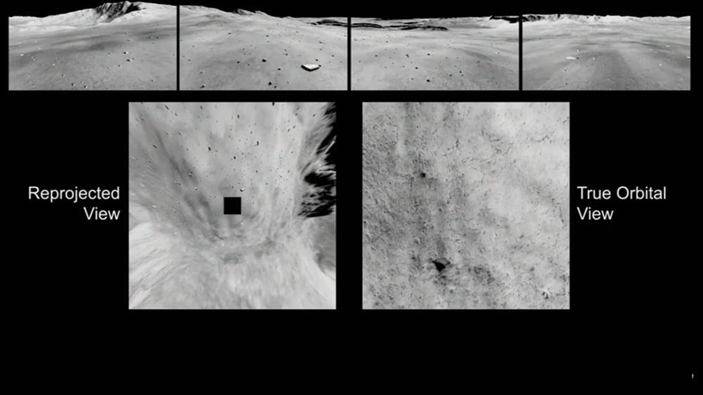 Links zu erkennen: die KI generierte Orbitalansicht. Rechts daneben eine echte Aufnahme von oben. Bild: NASA