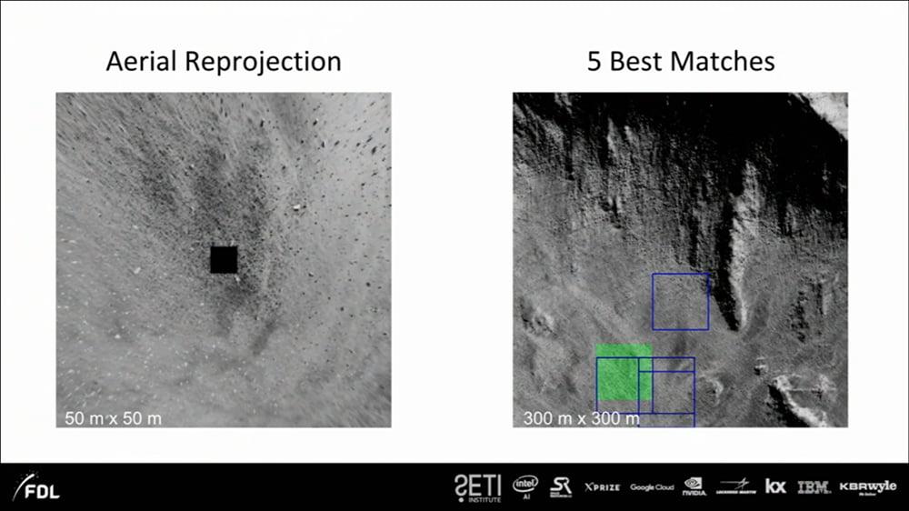 Die KI liefert ihre fünf besten Vorschläge. Das grüne Quadrat entspricht dem Ursprung der linken Aufnahme. Bild: NASA