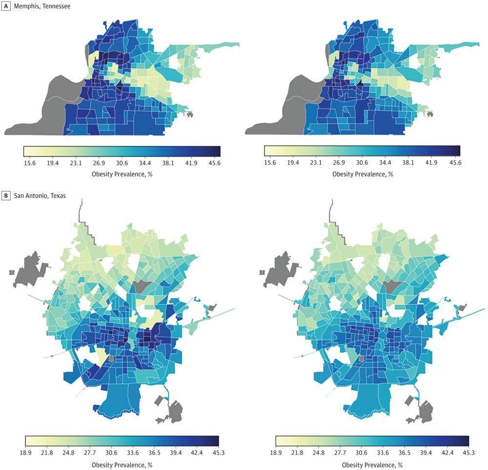 Auf der linken Seite sieht man die KI-Schätzung der Fettleibigkeit anhand der Google-Maps-Informationen. Auf der rechten Seite sind die Daten der offiziellen Erhebung visualisiert. Je dunkler, desto fetter. Für graue Flächen liegen keine Daten vor. Bild: Universität Washington