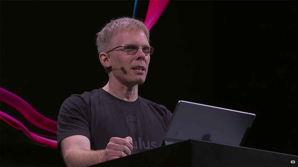 John Carmack hält Vortrag auf der Oculus Connect.