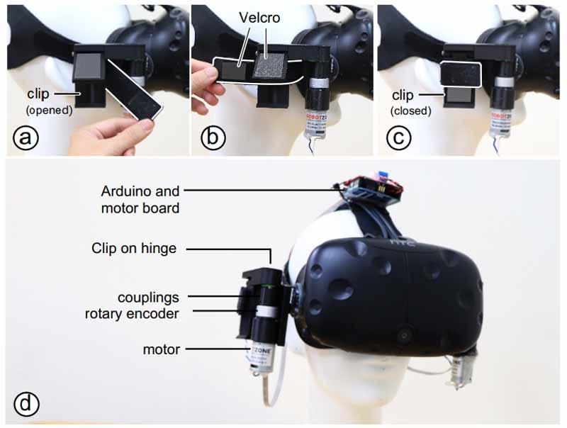 Die Motoren werden links und rechts an der VR-Brille mit Klettband angebracht. Bild: Chang / Tseng