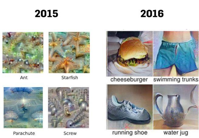 Google-KI-Bilder aus 2015 und 2016. Bilder Google/ Geometric Intelligence