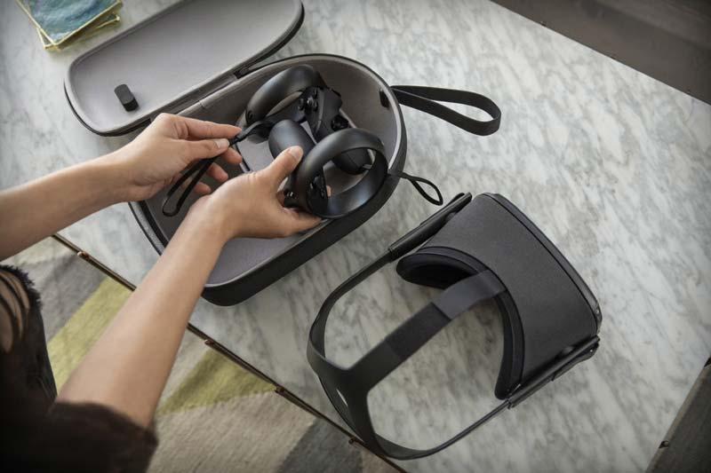 Für Quest gibt's eine Tragetasche. Das Kopfband lässt sich leider nicht zusammenfalten, das stört die Portabilität ein wenig. Bild: Oculus
