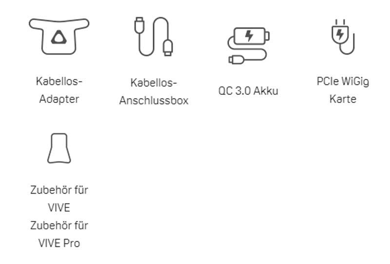 Der Lieferumfang: Für Vive Pro wird zusätzlich ein Anschlusskit für 75 Euro benötigt. Bild: HTC