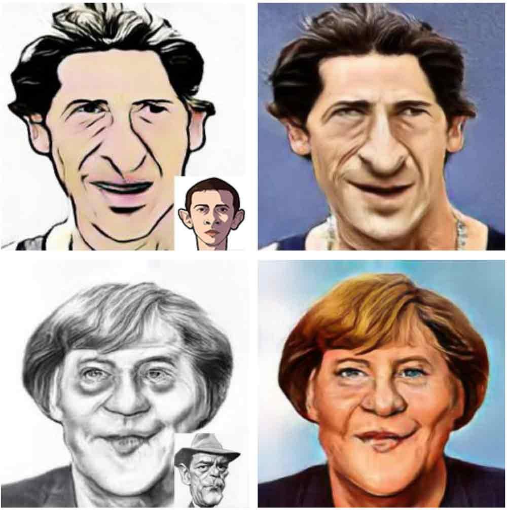 Ein guter Karikaturist erfasset mit einem Blick, was das Gesicht eines Menschen ausmacht und überzeichnet es humorvoll mit Wiedererkennungseffekt. Einer Künstlichen Intelligenz gelingt dieses Kunststück ebenfalls, das beweist ein neues Verfahren.