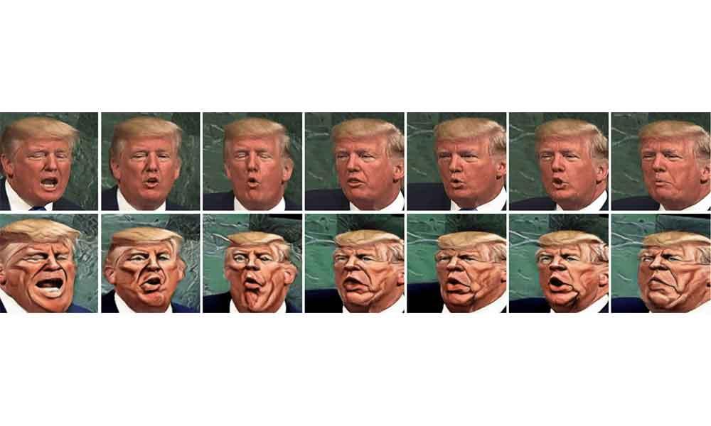 Donald Trump als Videokarikatur.
