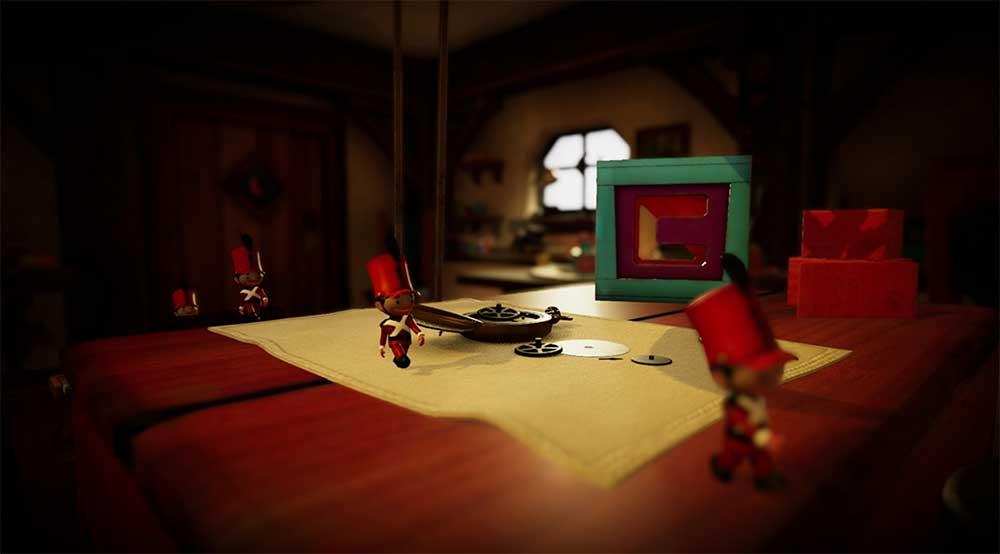 In Tin Hearts hantiert man in einer virtuellen Spielzeugwerkstatt, um Zinnsoldaten sicher an ihr Ziel zu geleiten.