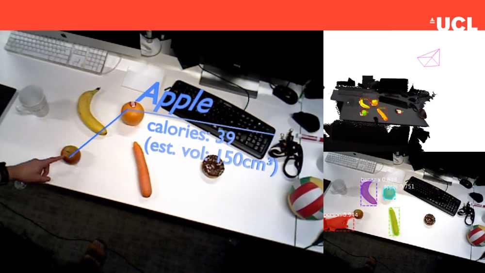 Obst wird erkannt, vermessen und auf Kalorien untersucht.