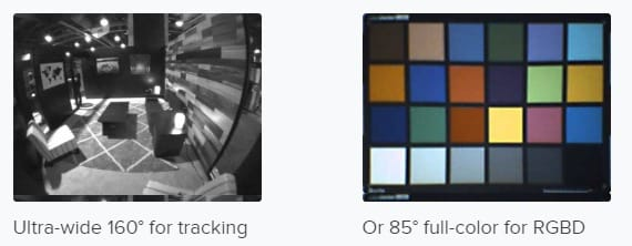 Je nach Anwendungsszenario hilft die Tracking- oder die Farbkamera mehr. Bild: Occipital