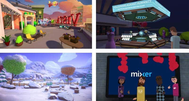 Winterwelten und Video-Streaming mit Mixer. Bild: AltspaceVR