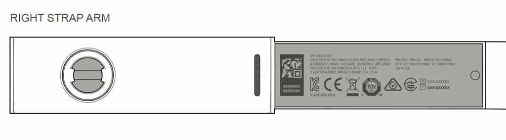 Die Quest-Zertifikate auf dem rechten Brillenbügel. Bild: FCC / Oculus