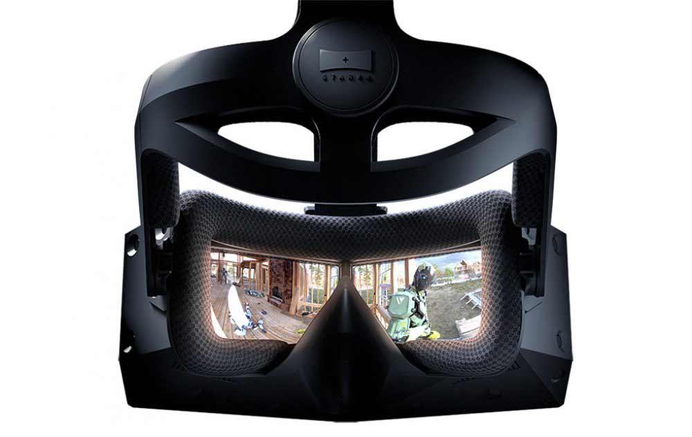 VR-Brille StarVR One mit ultrabreitem Sichtfeld von hinten mit Blick in die Linsen, auf denen zu Illustrationszwecken Bilder eingefügt wurden