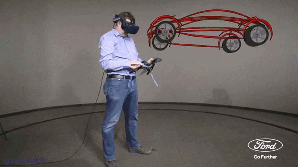 "Mit der VR-Design-Software ""Gravity Sketch"" sollen Ford-Designer neue Autos entwerfen."