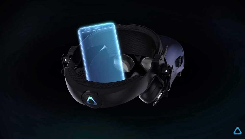 Vive Cosmos kann voraussichtlich mit HTC Smartphones verbunden werden. Die Übertragung via USB-C bietet sich an. Bild: HTC