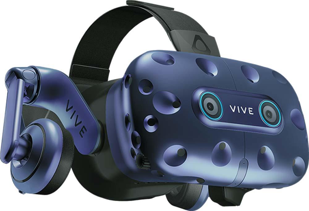 VR-Brille HTC Vive Pro Eye, schräg von der Seite, freigestellt