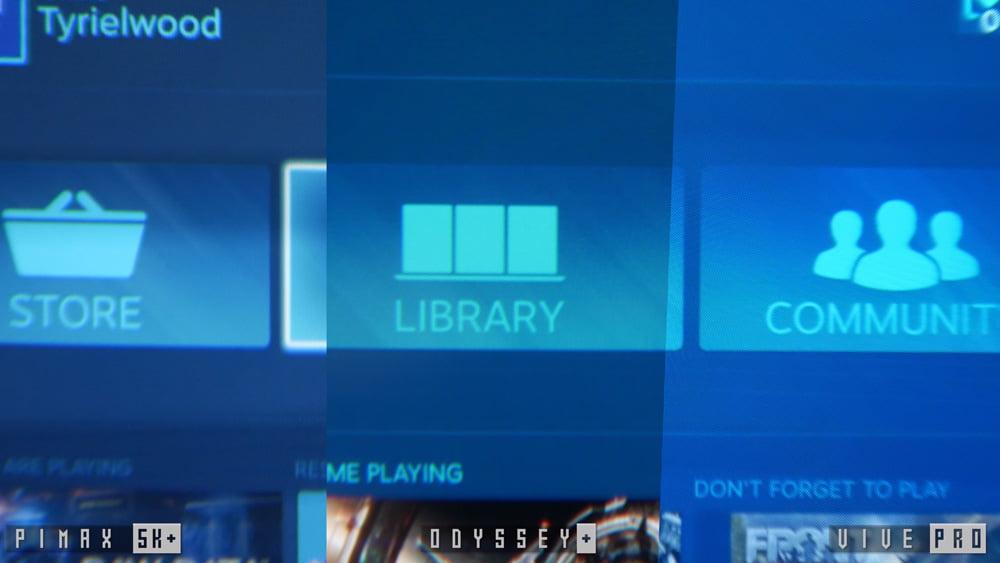 Pimax bietet die beste Kombination aus Auflösung und Schärfe bei geringem Fliegengittereffekt, braucht dafür allerdings auch einen sehr schnellen Rechner im Hintergrund. Die Systemanforderungen für Vive Pro und Odyssey+ fallen im Vergleich etwas moderater aus. Bild: Tyriel Wood