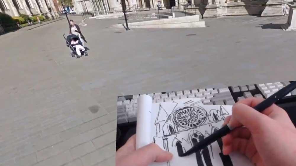 Die 3D-KünstlerinLiz Edwards reist in Google Earth VR und Fallout 4 VR zu Sehenswürdigkeiten und skizziert sie real.
