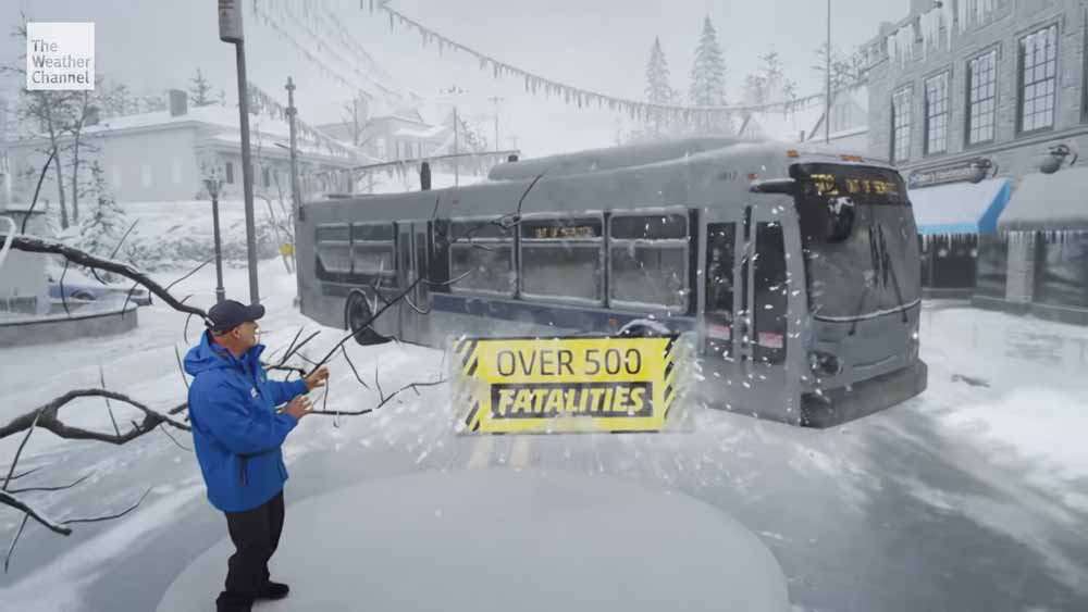 "Der US-Wetterkanal ""The Weather Channel"" zeigt mal wieder einen spektakulären Mixed-Reality-Wetterbericht."