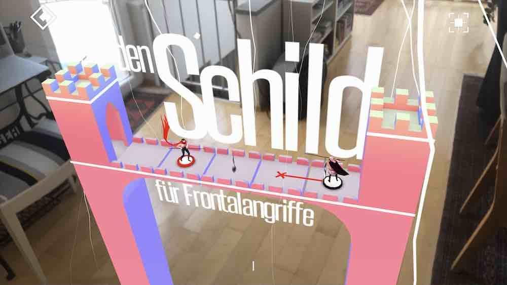 Die Augmented-Reality-Ansicht ermöglicht neue Perspektiven auf das Spiel und motiviert den Spieler, sich im Raum zu bewegen.