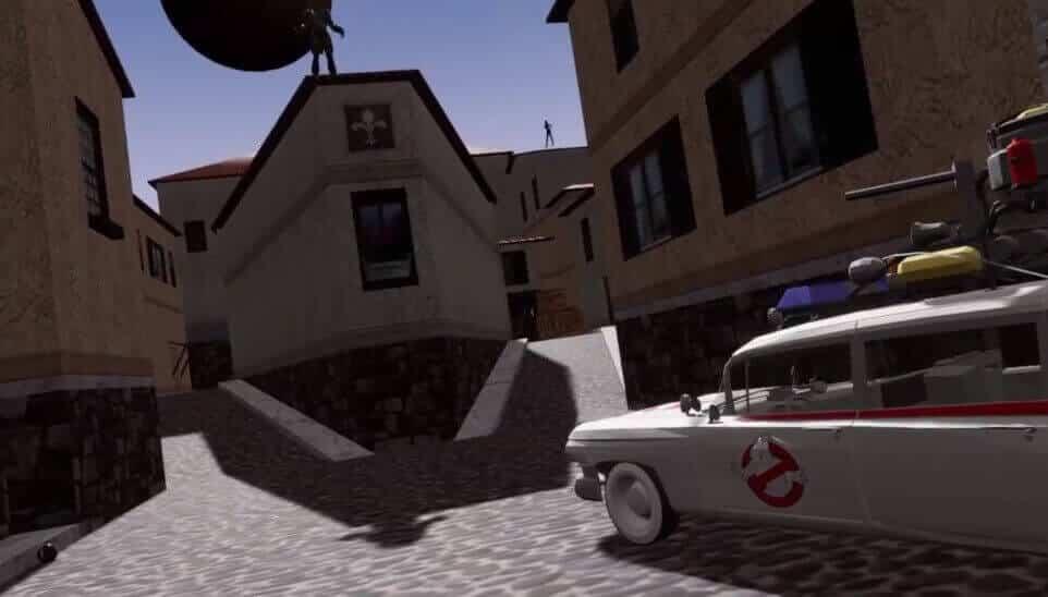 """Die Counter-Strike-Map """"cs_italy"""" mit Ghostbusters und Superschurken. Die Map ist vollständig begehbar."""