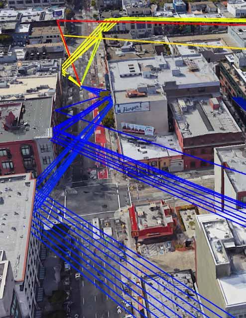 GPS-Positionierung in der Stadt kann ganz schön Nerven kosten. Das liegt daran, dass das Signal durch die vielen Gebäude abgelenkt wird. Bild: Google