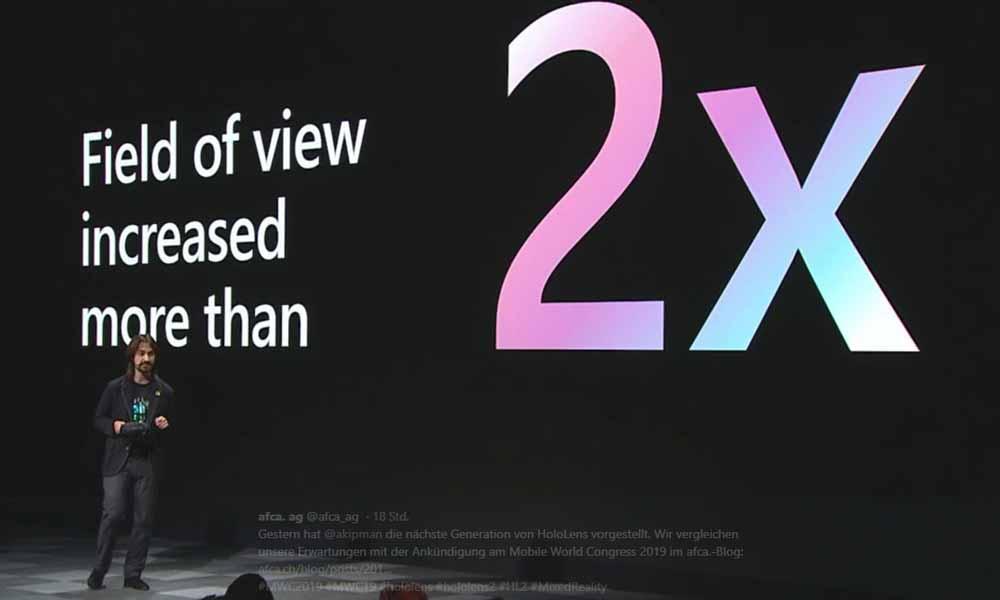 Wie weit ist das Sichtfeld von Hololens 2 im Vergleich zum Vorgängermodell und Magic Leap One? Ein Vergleichsbild zeigt es.