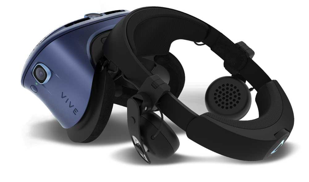 Die Kopfhörer sind nicht im Lieferumfang enthalten und können hinzugekauft werden. Ein modularer Aufbau gehört zum Konzept der Cosmos-Brille. Bild: HTC