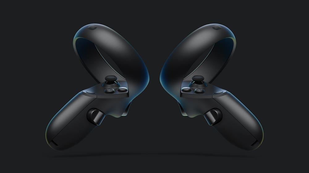 Oculus Touch für Oculus Rift S bietet dieselben Funktionen wie die originalen Handcontroller. Der Erfassungsring ist allerdings für stabileres Tracking nach außen gedreht. Bild: Oculus