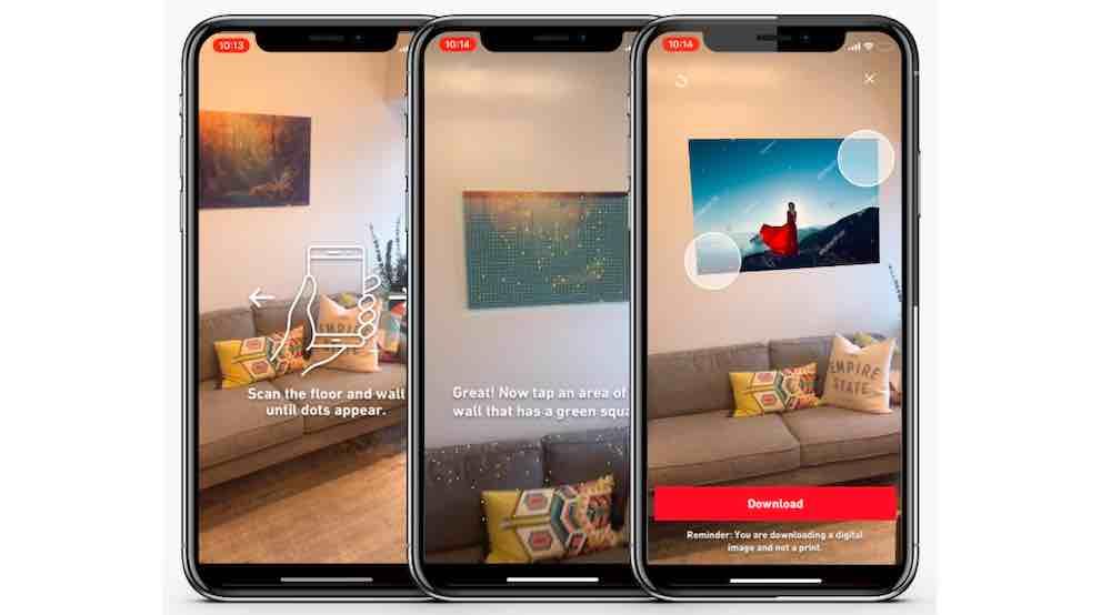 Man kann aus einer Datenbank von 250 Millionen Fotografien und Vektorgrafiken Bildmotive wählen und an die eigene Wohnzimmerwand projizieren.