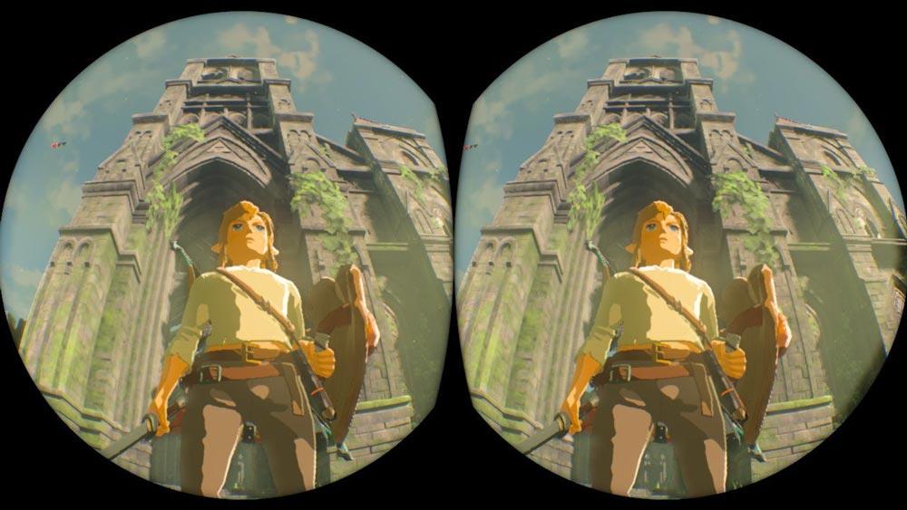 Der VR-Effekt wirkt trotz Pixelmatsch - zumindest ein wenig. Die Dimensionen der Zitadelle der Zeit jedenfalls erfasst man mit der Pappbrille besser als am 2D-Monitor. Dafür schlägt die viele Bewegung auf den Magen. Bild: Nintendo / Screenshot