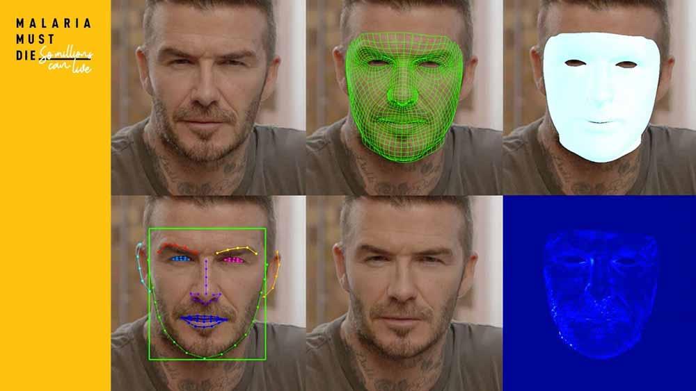 In einer Kampagne gegen Malaria sprechen Betroffene durch den Fußballstar David Beckham. Umgesetzt wurde der Effekt mit KI-Technologie.