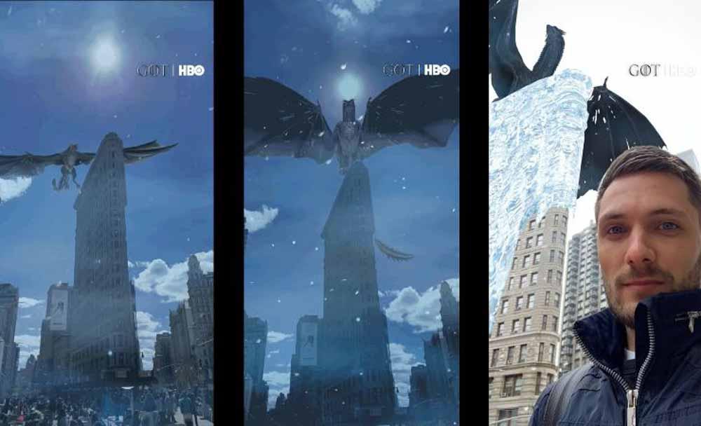 Snap nutzt den Hype um die letzte Game-of-Throns-Staffel für einen neuen Augmented-Reality-Filter: Das Flatiron-Gebäude in New York wird Opfer eines Eisdrachen.