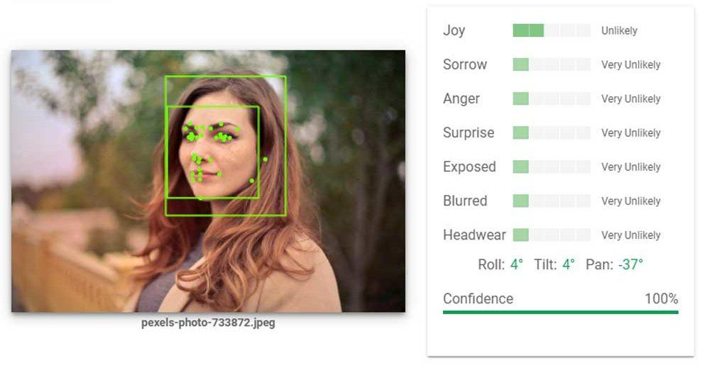 Künstliche Intelligenz identifiziert Emotionen in Gesichtern. Ein Google-Tool zeigt wie das aussieht.