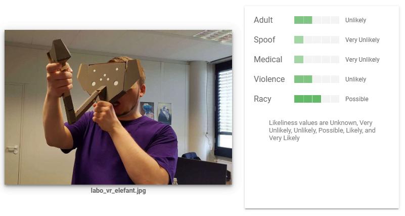 Bei einem Test mit einem Foto mit verstörendem, bizarrem Motiv, bleibt die Bild-KI cool. Bild: Screenshot