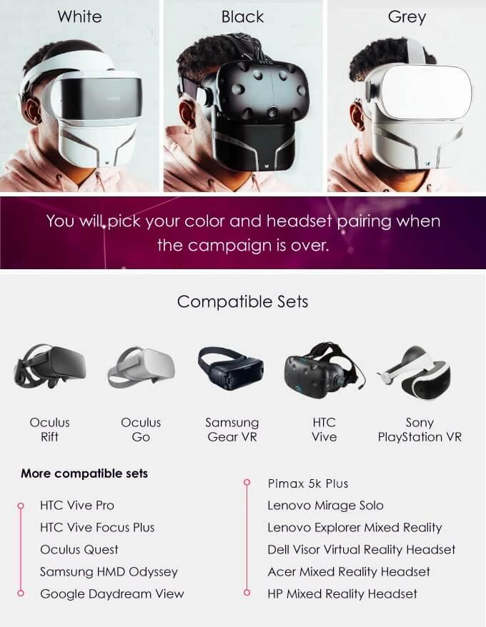 Die Maske kann an so ziemlich jeder VR-Brille befestigt werden. Bild: Feelreal