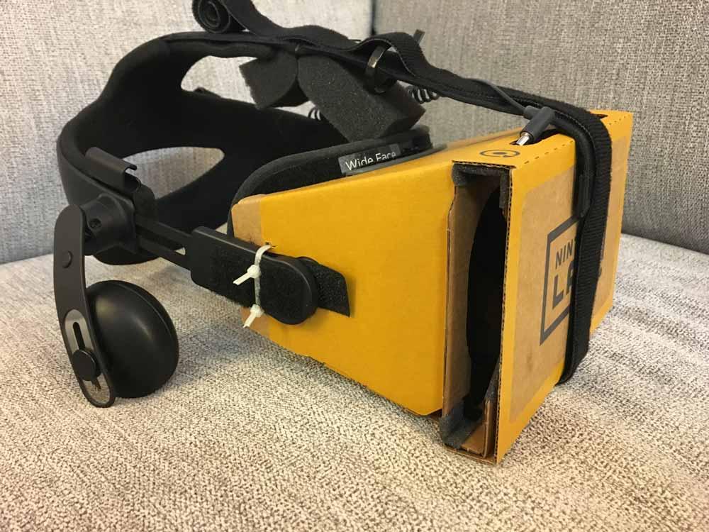 Die Deluxe-Version des Labo-VR-Kits - aufgerüstet mit einer Vive-Kopfhalterung. Bild: Nitewatcher / Imgur
