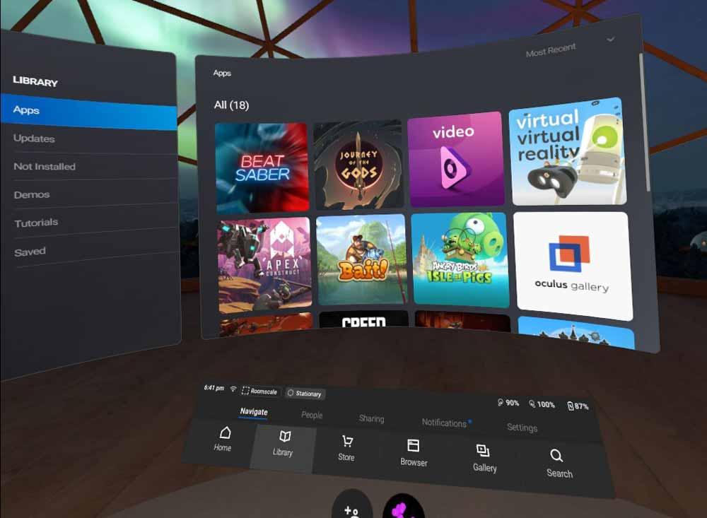 Das Interface ist von Oculus Go und Gear VR bekannt, auch die Smartphone-App ist dieselbe. Man kann innerhalb der App zwischen den Brillen umschalten. Bild: Screenshot