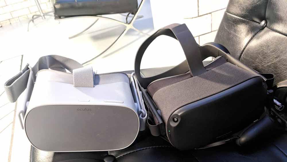 Oculus Quest neben Oculus' zweiter autarker VR-Brille Oculus Go. Bild: Jan-Keno Janssen