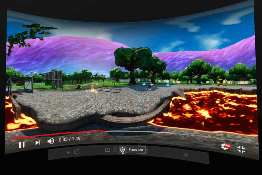 YouTube 360-Grad läuft direkt im Oculus-Browser mit vielen Einstellmöglichkeiten. Bild: Screenshot