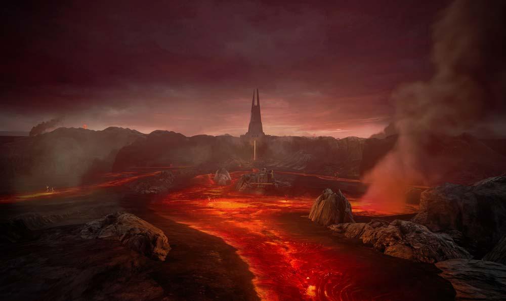 Im Anflug auf Mustafar. Ja, der Planet heißt wirklich so. Bild: Disney
