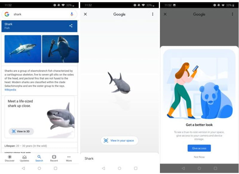 Der 3D-Hai ist in Googles Knowledge Graph integriert. Von dort aus kann er mit zwei Tatschern in Lebensgröße in den Raum projiziert werden. Bild: Android Police