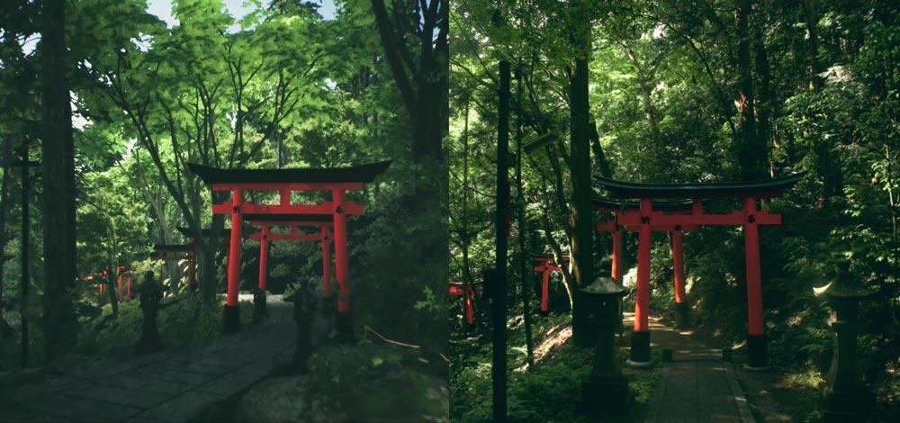 Rechts ein Foto, links das digitale Gegenstück. Grafisch ist der Ausflug an den bekannten Fushimi Inari-Taisha Schrein sehr gelungen. Bild: itch.io/kyoto