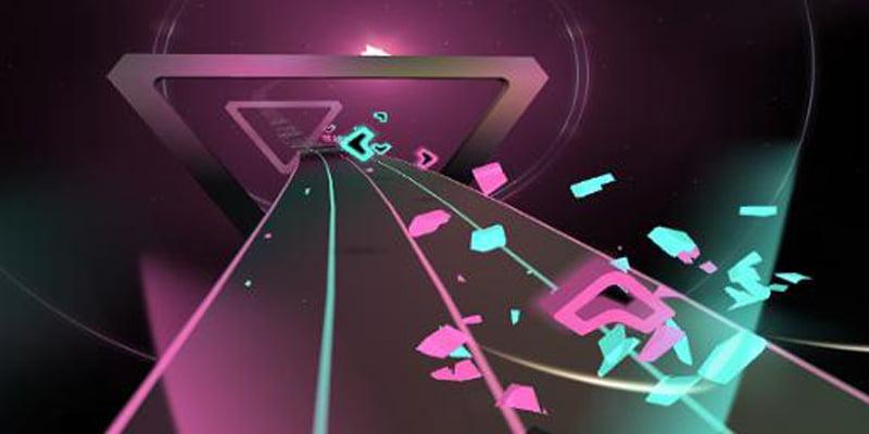 Klassisch wie bei Beat Saber: Anfliegende Symbole müssen entlang der Pfeilrichtung mit einem Laserschwert zerteilt werden - und das im Rhythmus der Musik. Bild: Supermedium