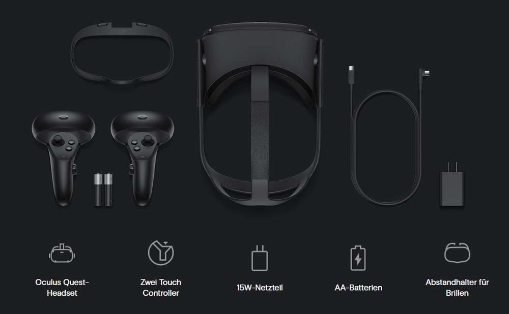 Der Lieferumfang von Oculus Quest. Bild: Oculus