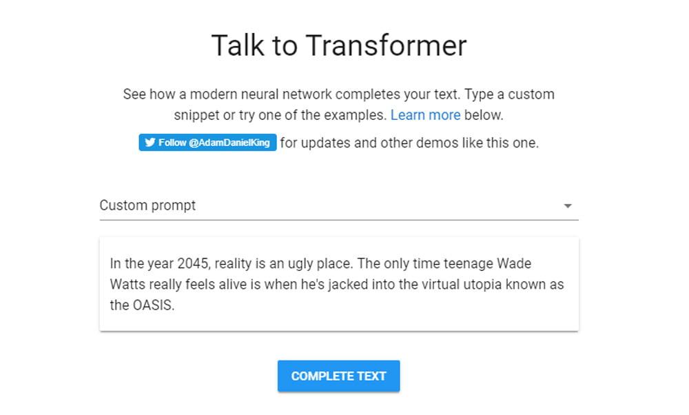 """Auf der Webseite """"Talk to Transformer"""" könnt ihr einen GPT-2 basierten Textgenerator testen."""